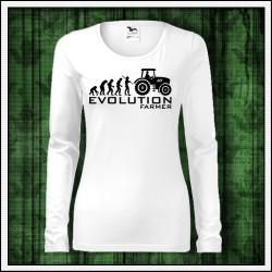 Vtipné dámske dlhorukávové tričko Evolution Farmer