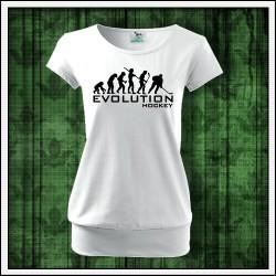 Vtipné dámske tričko s patentom Evolution Hockey