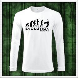 Vtipné pánske 180 g. dlhorukávové tričká Evolution Rocks