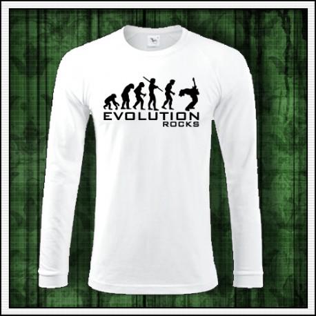 Vtipné pánske dlhorukávové tričko Evolution Rocks