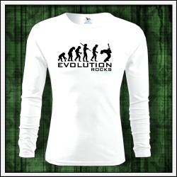 Vtipné pánske 160g. dlhorukávové tričká Evolution Rocks