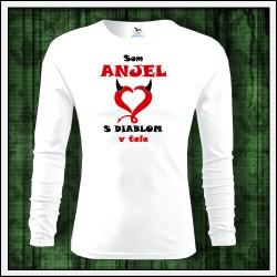 Vtipné detské dlhorukávové tričko Som anjel s diablom v tele