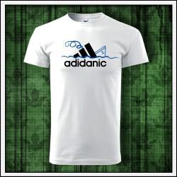 Vtipné detské biele tričko Adidanic