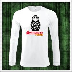 Pánske dlhorukávové tričko biele Matryoshka