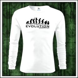 Vtipné pánske dlhorukávové biele tričko Evolution Computer