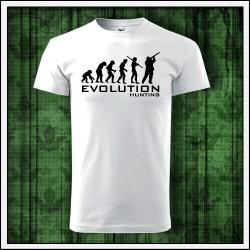 Vtipné unisex tričko Evolúcia poľovníka, tricko s polovnickym motivom