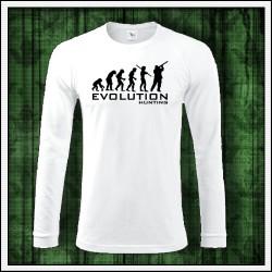 Vtipné pánske dlhorukávové poľovnícke tričko Evolucia polovnika