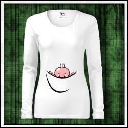 Vtipné dámske tehotenské dlhorukávové tričká Vykúkajúce dieťa (vak)