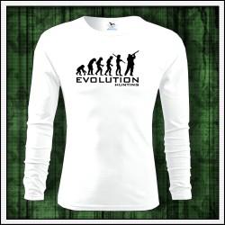 Vtipné pánske dlhorukávové tričko Evolúcia poľovníka