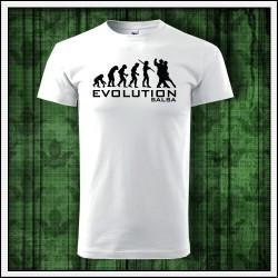 Vtipné unisex tričko Evolution Salsa, darček pre tanečníka