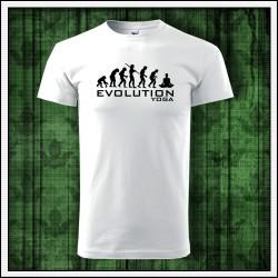 Vtipné unisex tričko Evolution Yoga, darček pre jogína