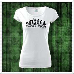 Vtipné dámske tričko Evolucia joga