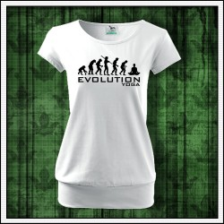 Vtipné dámske tričko s patentom Evolution Yoga