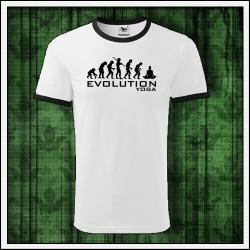 Vtipné unisex dvojfarebné tričko Evolúcia jogy, darček pre jogína