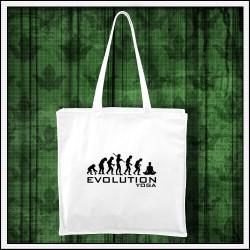 Vtipná biela taška Evolúcia jogy