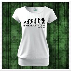 Vtipné dámske tričko s patentom Evolution Tourist, vianočný darček pre turistku