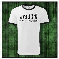 Vtipné unisex dvojfarebné tričko Evolúcia turistiky
