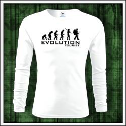 Vtipné pánske dlhorukávové tričko evolúcia turistiky