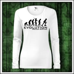 Vtipné dámske dlhorukávové tričko Evolution Roller Skating darček pre korčuliarku