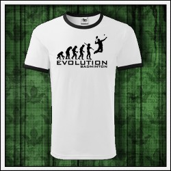 Vtipné unisex dvojfarebné tričko Evolution Badminton, vtipné vianočné darčeky