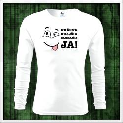 Vtipné detské biele dlhorukávové tričko Krásna krajšia JA