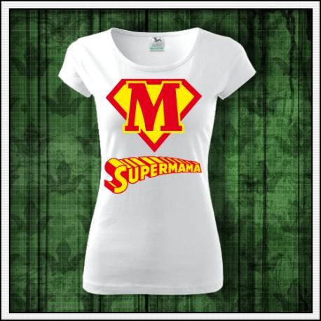 Vtipné dámske tričko Supermama k narodeninám