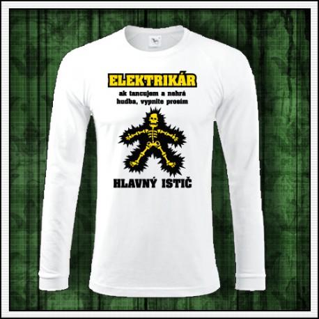 Vtipné pánske dlhorukávové tričko Elektrikár
