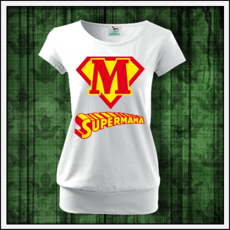 Vtipné dámske tričko s patentom Supermama
