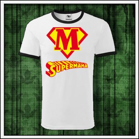 Vtipné unisex dvojfarebné tričká Supermama
