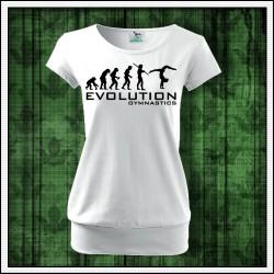 Vtipné dámske tričko s patentom Evolúcia gymnastiky