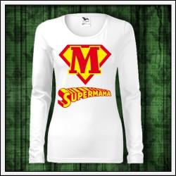 Vtipné dámske dlhorukávové tričká Supermama