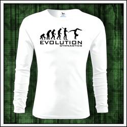 Vtipné detské biele dlhorukávové tričko Evolúcia gymnastiky