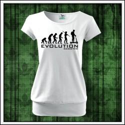 Vtipné dámske tričká s patentom Evolution Scooter