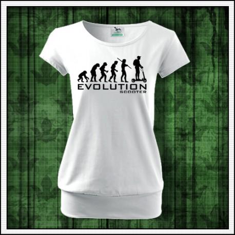 Vtipné dámske tričko s patentom Evolucia kolobežky