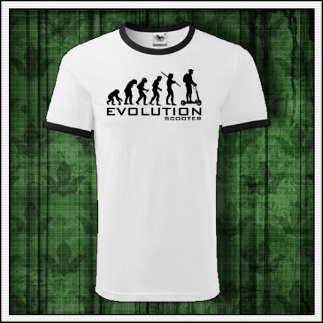 Vtipné unisex dvojfarebné tričko Evolucia kolobezky
