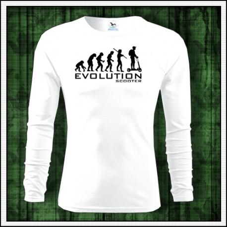 Vtipné pánske dlhorukávové tričko Evolucia kolobezky