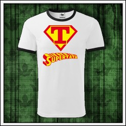 Vtipné unisex dvojfarebné tričká Supertata