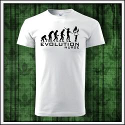 Vtipné unisex tričko Evolution Nurse, tričko pre zdravotnú sestru