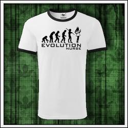 Vtipné unisex dvojfarebné tričko Evolúcia sestričky