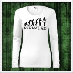 Vtipné dámske dlhorukávové tričko pre zdravotnú sestru Evolution Nurse