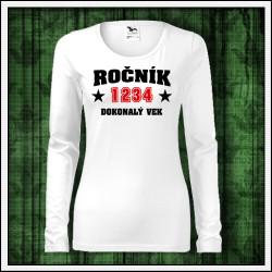 Vtipné dámske dlhorukávové tričko Dokonalý vek, vtipný narodeninový darček