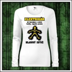 Vtipné dámske dlhorukávové tričká Elektrikár