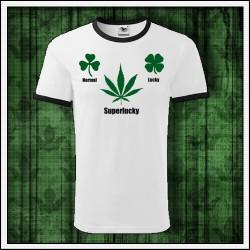 Vtipné unisex dvojfarebné tričko marihuana Normal Lucky Superlucky