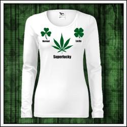 Vtipné dámske dlhorukávové tričko s marihuanou