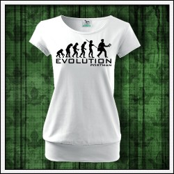 Vtipné dámske tričko s patentom Evolution Postman