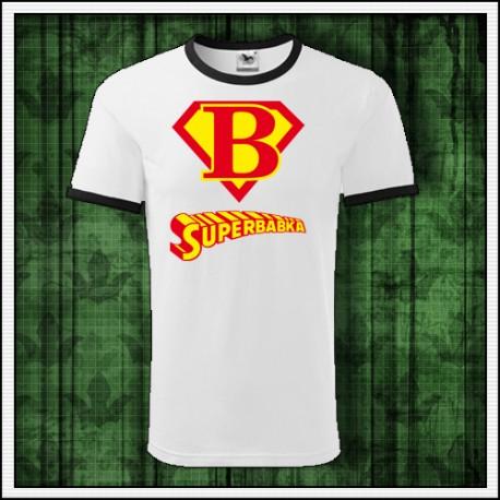 Vtipné unisex dvojfarebné tričko Superbabka
