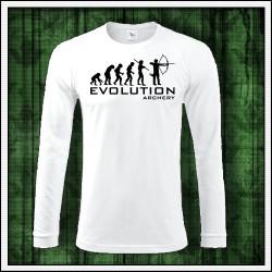 Vtipné pánske dlhorukávové tričko Evolúcia lukostrelby