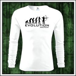 Vtipné pánske dlhorukávové tričko Evolution Archery, darček pre lukostrelca