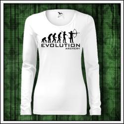 Vtipné dámske dlhorukávové tričko Evolucia lukostrelby