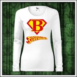 Vtipné dámske dlhorukávové tričko pre starú mamu Superbabka